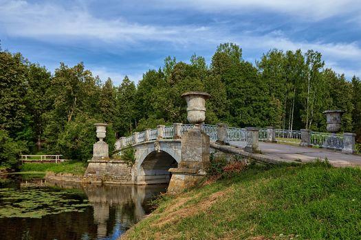 St. Petersburg, Pavlovsk park, Slavyanka River, bridge, Russia, landscape