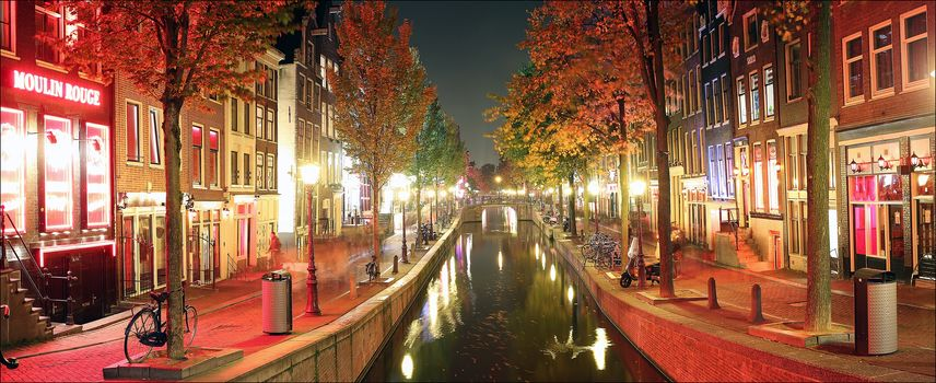 Amsterdam, Netherlands, Holland, channel, Street, at home, city, illyuminatsiya, night, view