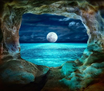 rock, arch, window, sea, moon, night, landscape