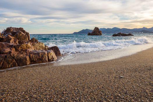 sea, Coast, beach, Cannes, France, landscape