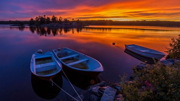 landscape, a boat, boats, water, nature, peace, relaxation, River, lake, sunset, Coast, sky, bright