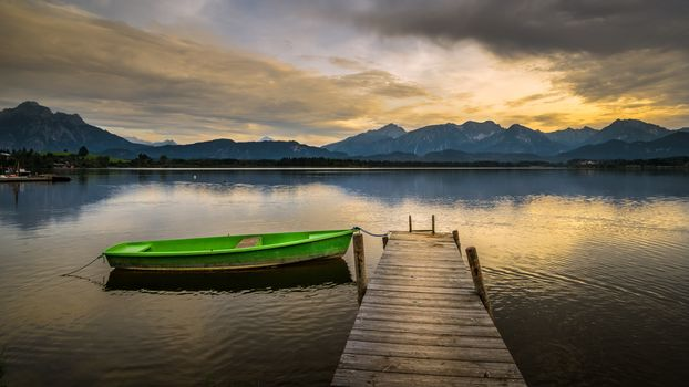 landscape, a boat, boats, water, nature, peace, relaxation, River, lake, dawn, fog, gangway, bridge, the mountains, sky