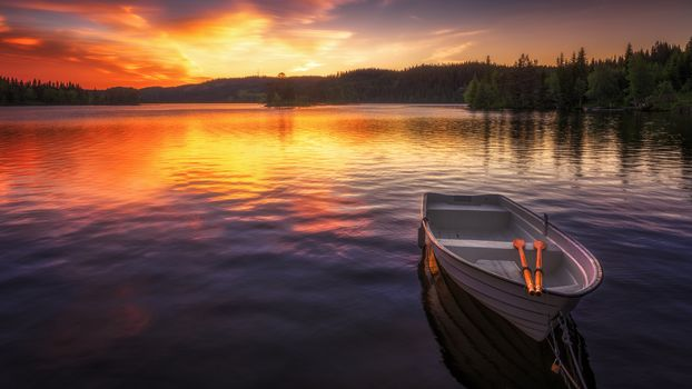 landscape, a boat, boats, water, nature, peace, relaxation, River, lake, sunset, dawn, forest, paddle