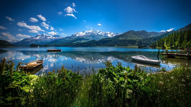 landscape, a boat, boats, water, nature, peace, relaxation, River, lake, the mountains, Coast, sky, summer, vegetation, reflection