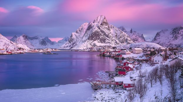 Lofoten, Norway, Lofoten, island, winter, snow, the mountains, rock, houses, water, sky, landscape, nature, view, Coast, morning, pink, clouds