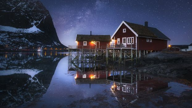 Lofoten, Norway, Lofoten, island, winter, snow, the mountains, rock, houses, water, sky, landscape, nature, view, night, stars, lights, reflection, Coast