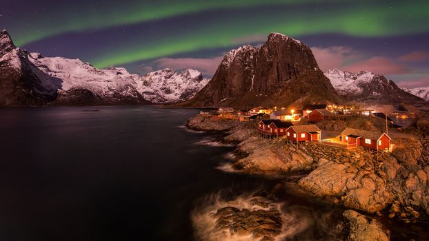 Lofoten, Norway, Lofoten, island, winter, snow, the mountains, rock, houses, water, sky, landscape, nature, view, Sesernoe shine, Polar Lights, night, stars, lights, Coast