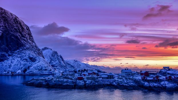 Lofoten, Norway, Lofoten, island, winter, snow, the mountains, rock, houses, water, sky, landscape, nature, view, dusk, night, clouds, Coast, sunset