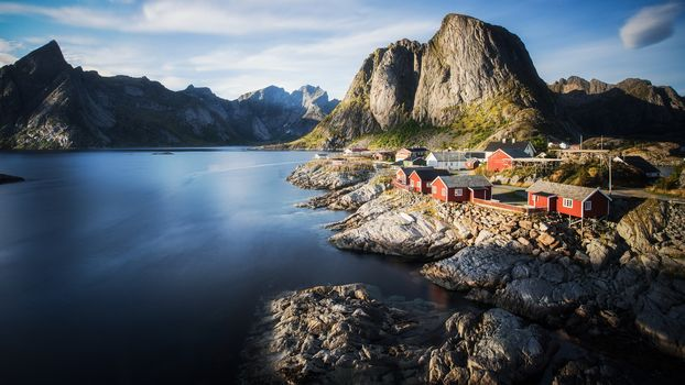 Lofoten, Norway, Lofoten, island, the mountains, rock, houses, water, sky, landscape, nature, view, Coast