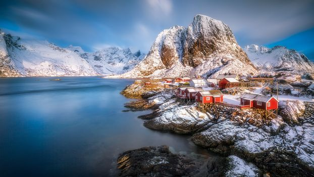 Lofoten, Norway, Lofoten, island, winter, snow, the mountains, rock, houses, water, sky, landscape, nature, view, Coast, clouds