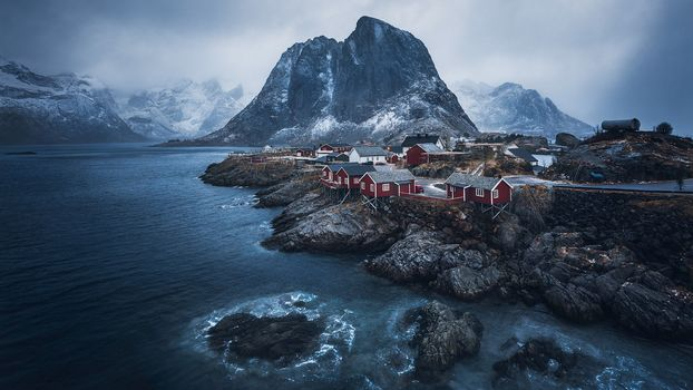 Lofoten, Norway, Lofoten, island, winter, snow, the mountains, rock, houses, water, sky, landscape, nature, view, Coast, fog, Mainly cloudy