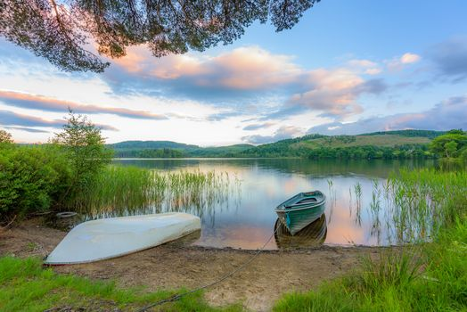 Filming, Trossach, Scotland, lake, boats, hills, trees, landscape