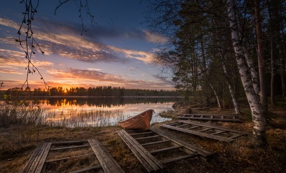Finland, sunset, lake, Coast, a boat, forest, trees, landscape