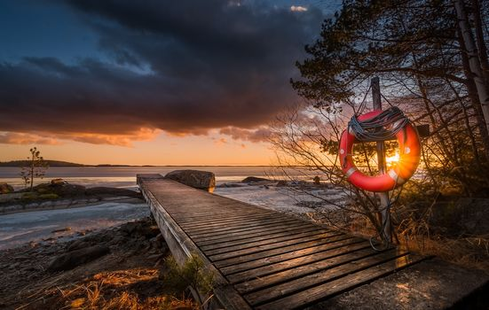 Finland, sunset, pier, lake, forest, trees, landscape