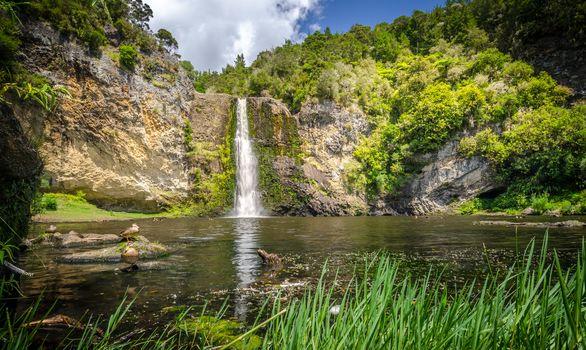 waterfall, water, rock, trees, landscape