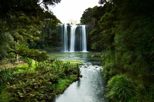 New Zealand, Scandinavian peninsula, Fangarei Waterfall, Whangarei Falls, small river, trees, stones, landscape