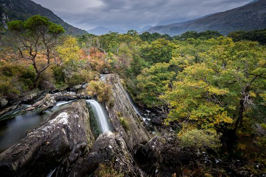 Kerry County, Crinnag River, Killarney, Ireland, waterfall, landscape