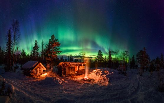 night, winter, forest, houses, bonfire, Northern Lights, landscape