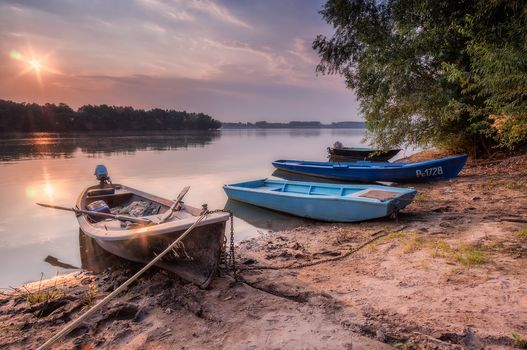 Danube River, Russian, Bulgaria, sunset, River, Coast, boats, landscape