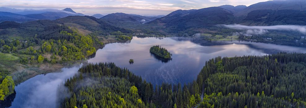view, Loch-Arda, Loh-Lomond, Trossachs National Park, Scotland, Ben Lomond, the mountains, lake, Island, trees, landscape