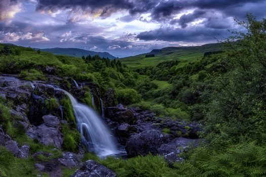 Glad parked, Stirlingshire, Scotland, the mountains, hills, waterfall, trees, landscape