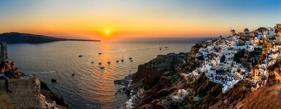 Greece, Island, Santorini, Santorini, Mediterranean Sea, ocean, view, harbor, Amoudi Bay, sunset, landscape