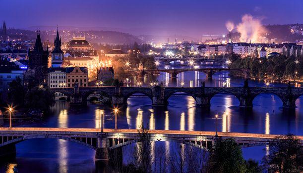 Czech Republic, Prague, Czech Republic, River Vltava, night