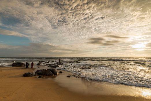 Бенгальский залив, India, sea, ocean, sunset, Coast, landscape