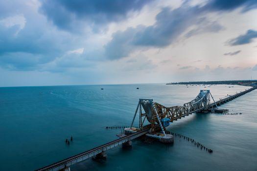 Railway bridge Pamban, India, sea, ocean, landscape