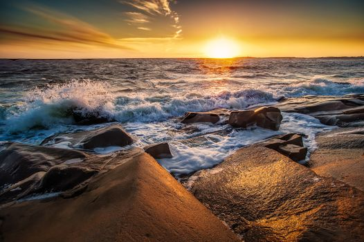 sunset, sea, rock, waves, Coast, landscape