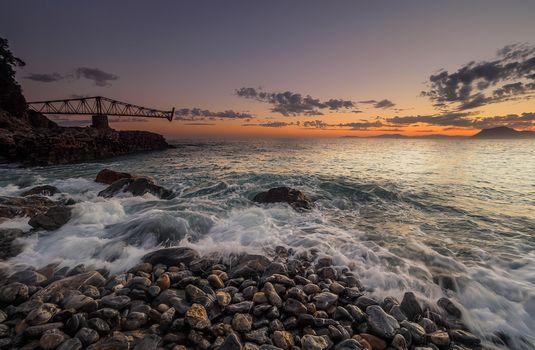 sunset, sea, waves, rock, stones, landscape