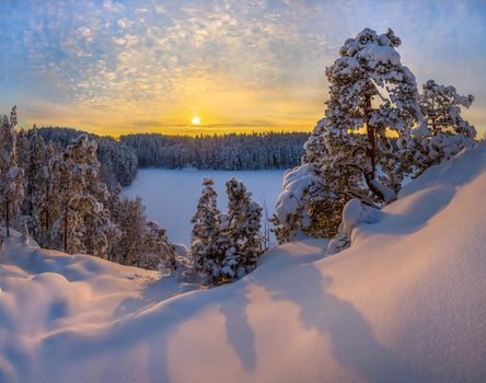 winter, lake, snow, sunset, snowdrifts, trees, landscape