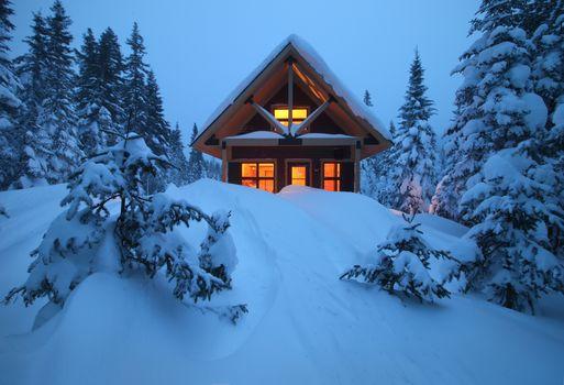 зима, лес, снег, сугробы, деревья, домик, пейзаж