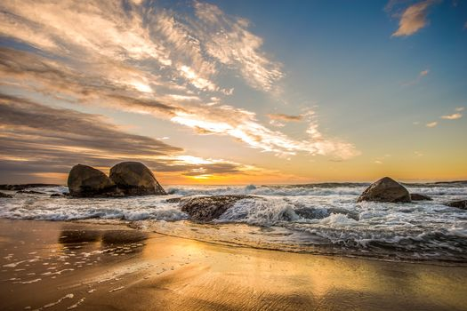 sunset, sea, waves, Coast, stones, beach, landscape