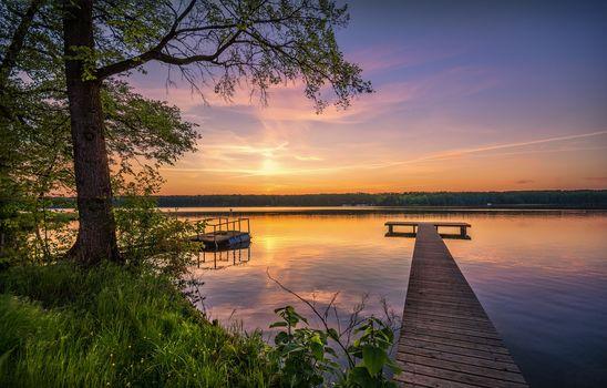 sunset, lake, trees, berth, landscape