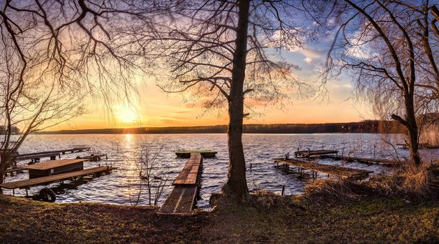lake, autumn, berth, trees, landscape