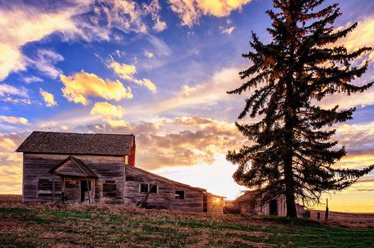 field, Hill, house, ruin, sunset, tree, landscape