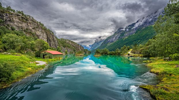Norway, Norway, nature, Scandinavia, River, the mountains, lodge, trees, landscape