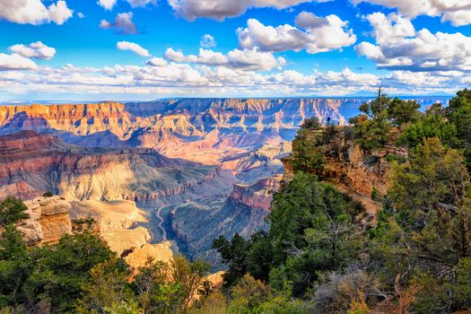 Grand Canyon National Park, the mountains, rock, trees, sky, clouds, landscape