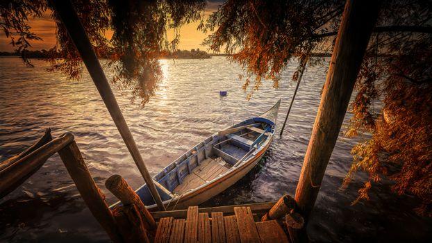 sunset, River, a boat, pier, tree, landscape
