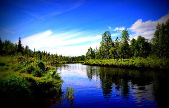 River, reflection, trees, sky, nature, landscape