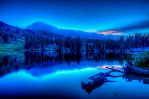 Душное озеро, Сьерра-Невада, Калифорния, Тихоокеанский гребень, закат, пейзаж