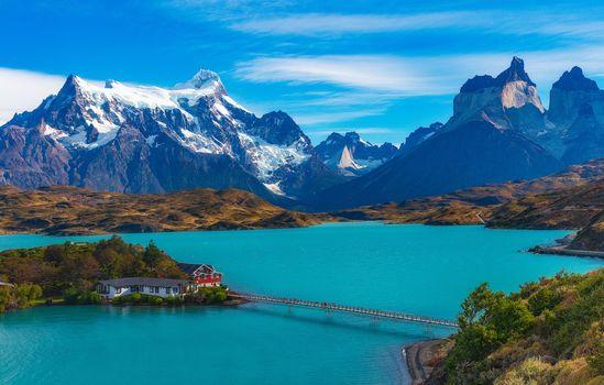 Patagonia, hotel, Pehoe, Hotel Pehoe, Ice Lake, Lago Pehoe, chili