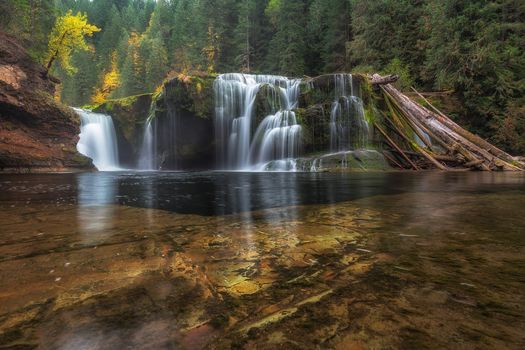Lower Lewis River Falls, Washington, waterfall, autumn, forest, trees, landscape