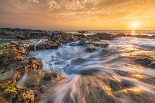Парк развлечений Вавалоли, Пьесталь Пеле Коны, Закат солнца, Гавайи, Большой остров, горные породы, Кайлуа-Кона, пейзаж, пляж, море, берег, океан, закат