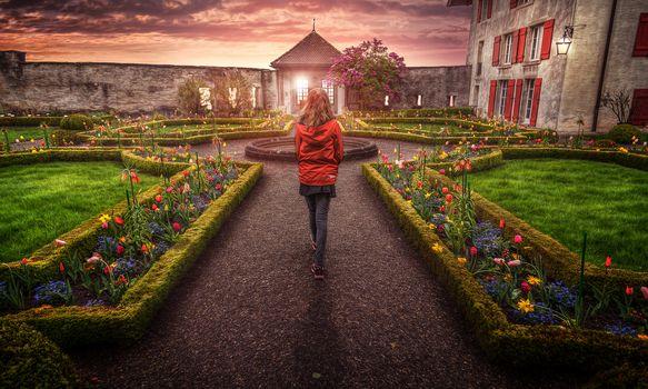 Switzerland, Castle garden, nature, flowers, garden, Castle, Evening mood, Evening light, Evening colors, Evening sky, girl