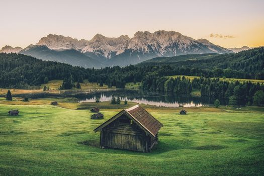 the mountains, Alps, khijina, Mountain Lake, Garmisch, Garmisch-Partenkirchen, meadow trees, forest, Germany, sunset, landscape
