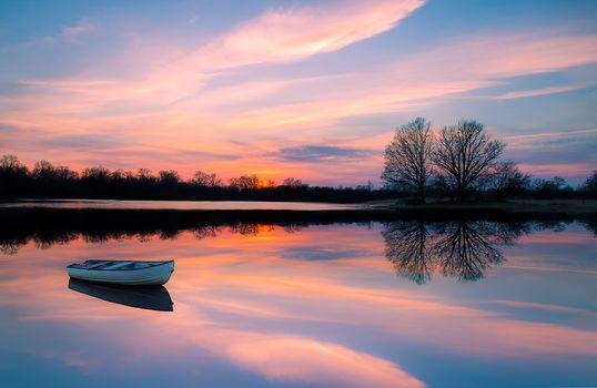 sunset, lake, a boat, trees, landscape