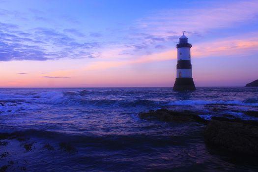 маяк, Anglsi, Уэльс, волны, океан, море, Пурпурный, береговая линия, Великобритания, Великобритания, закат, пейзаж
