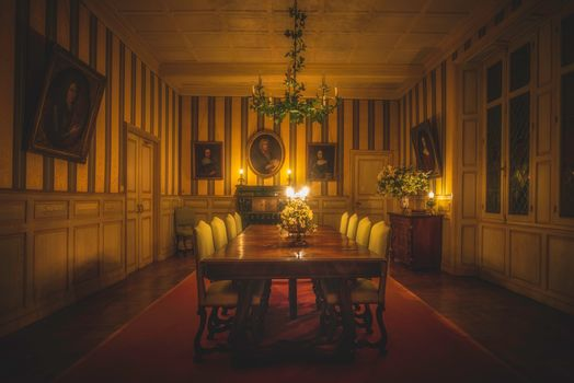 room, Hall, table, candles, paintings, interior